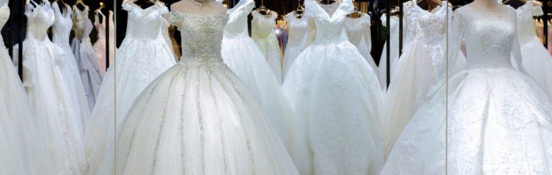 lots of new wedding dress display